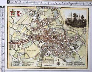"""Old Antique Victorian colour map Coventry, England: 1800's: 12"""" x 9"""" Reprint"""