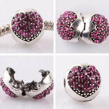 1pcs silver love ball Rose CZ snap beads fit Charm European Bracelet DIY AB955