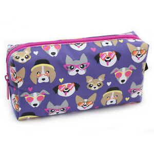 Large Cool Dogs Puppy Purple Pencil Case Pouch Pink Zip Girls Women