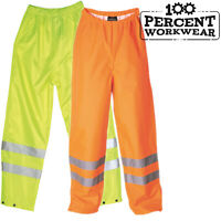 Waterproof High Visibility Over Trousers Elasticated Waist Hi Vis Viz Work Pants