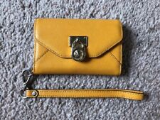 Michael Kors I Phone 4 and 4S Mustard Yellow Leather Case, Wristlet Wallet