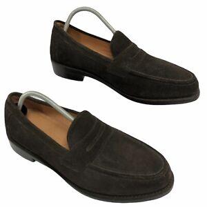 Men's Brown Suede Samuel Windsor England Penny Loafer :Good Year Welted Size 10