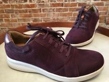 Clarks UnStructured Burgundy Red Nubuck Leather Un Adorn Lace Up Sneaker NEW