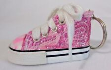 Pink Sequin High Top Tennis Shoe Key Chain