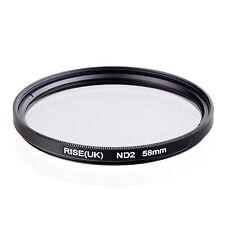 RISE(UK)58mm Neutral Density ND2 Filter for Canon Nikon Sony Fuji Samsung Lens