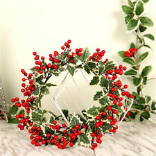 Christmas Simulation Berries Garland Red Fruit White Leaf Wreath Wall Xmas Decor