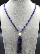 Faceted 2x4mm Amethyst Gemstone & 9-10mm White Akoya Pearl Pendant Necklace 18''