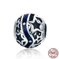 925 Sterling Silver Sparkling Galaxy Star Blue Enamel Beads Charm fit Original