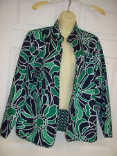 Alfred Dunner Top Size 14 Floral Open Front Black Green