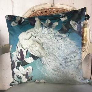Vintage Peacock Velvet Cushion Cover Shabby Chic Rustic Vogue Country Luxe Decor