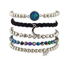 Lux Prism Crescent Moon Celestial Star Beaded Arm Candy Bracelet Set