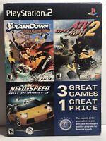 PlaysStation 2 Video Games 3 pack Need 4 Speed, Splashdown, ATV Offroad Fury 2