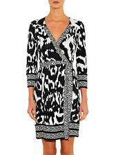 NWT Diane von Furstenberg Tallulah Wrap Dress Flower Ikat Black White 4 DVF