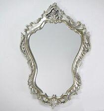 Espejo de Pared Barroco OVALADO Aspecto Vintage Plata ANTIGUO Rococó 90x60 woe