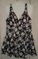 Vtg Maxine Of Hollywood Skirted Swim Dress Play Suit Bombshell Pin Up Plus 18
