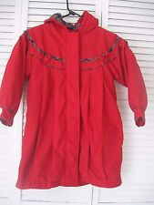 "GIRLS ""CASUAL TIME"" RED COAT WITH HOOD, SIZE 6X, ZIPOUT LINING, BUTTON FRONT"