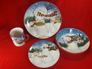 Susan Winget Certified Intl. SNOWMAN Enchanted Christmas Plate (s) or Mug