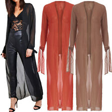 Ladies Tie Cuff Sleeve Chiffon Sheer Maxi Long Kimono Jacket Open Full Length