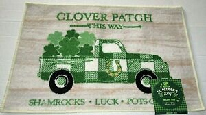 """ST. PATRICK'S DAY  ACCENT RUG   20"""" X 30"""" 100% Nylon CLOVER PATCH THIS WAY"""