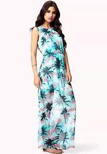 Forever 21 Tropical Palm Tree Print Maxi Dress Size S Sleeveless Aqua Blue Euc