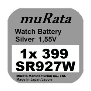 1x Murata/Sony 399 Uhren-Batterie Knopfzelle SR927W SR927 AG7  Neu Silberoxid
