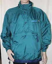 US West Telephone Large Green and Navy Hooded Pullover Jacket Windbreaker