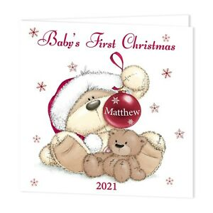 PERSONALISED BABY'S FIRST CHRISTMAS 2021 CARD-ADD NAME TO BAUBLE-FIZZY MOON BEAR