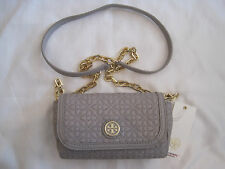 NEW TORY BURCH BRYANT QUILTED SMALL CROSS-BODY CLUTCH GRAY LEATHER  PURSE NWT