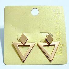 ACCESSORIZE~ GOLD TONE, 2 PIECE ROSE GOLD, TRIANGLE EARRINGS. 2 WAY WEAR