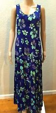 BOHO Blue Rayon BATIK Flower Tiered GYPSY Peasant Full Swing Maxi VTG Dress S