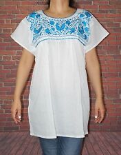 White Peasant Boho 100% Gauze Cotton Mexican Embroidered Blouse Top Small