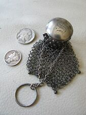 Antique Victorian Silver Tone French Doll Chatelaine Mesh Gate Top Coin Purse S