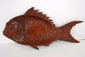 """Vintage Cast Iron Fish Platter Tray Dish Koi Carp 13"""" Red Japan 1960's"""