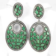 """HUGE!!! 106 CTS!! NATURAL EMERALD BLACK RHODIUM PLATED 925 SILVER EARRINGS 2.5"""""""