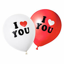 White & Red 'I Love You' Valentines Day / Wedding Heart Balloons (24 Pack)