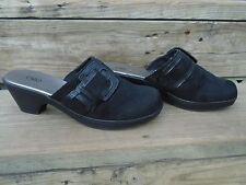 Womens Size 11 M Cato Black Faux Suede With Buckles Slip On Clogs Shoes Heels