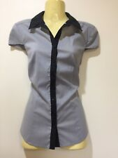 Portmans Shirt Blouse Top Fitted ladies size 8 black pinstripe stretch short sle