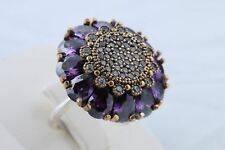 925 Sterling Silver Turkish Jewelry Rolexana Drop Amethyst Topaz Ring Size 8