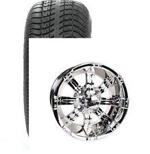 Set of (4) ITP 14 SS Chrome Mirror Golf Cart Car Rim Wheels & Tires Mounted