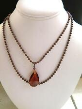 Copper Tone 2X Chain Necklace Red Glass Teardrop Israel Designer Meri Dikla 38""