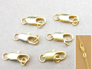 Wholesale 10Pcs Jewelry Findings 18K Yellow Gold plating Lobster Clasps