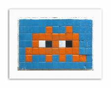 PIXEL MONSTER SPACE INVADER ORANGE TILES Poster Canvas art Prints