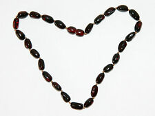 Genuine Baltic amber baby necklace, dark cherry olive oval beads 33 cm 6 gr.