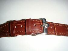 18mm Omega Brown Leather Band with SS Buckle