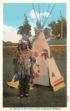 INDIAN BIG JOE OTTAWA TRIBE NORTHERN MICHIGAN POSTCARD (c. 1915)