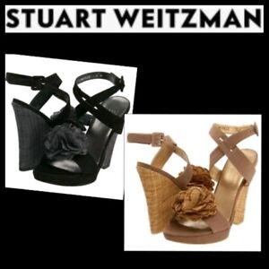 $385 Stuart Weitzman Black Tan Rosette Espadrille Wedge Sandals Shoes ~10 M3020