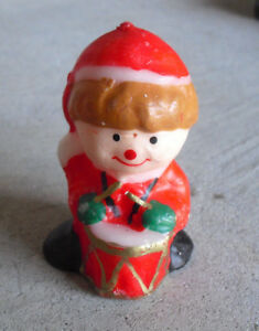 """Vintage 1970s Small Drummer Boy Figural Candle 3"""" Tall"""