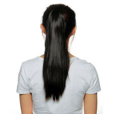 Coda Extension Capelli Lisci Ponytail Wig Parrucca Nero 49cm + Clip