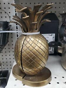 "Vintage Pineapple Brass Bookends Pair Mid-Century Hollywood Regency 8 1/4"" EUC"