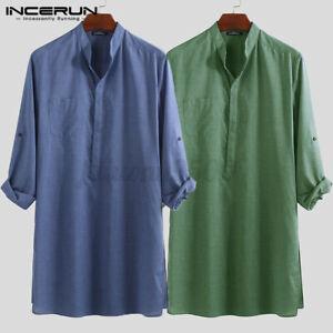 Men's Retro T-shirt Casual Plain Long Sleeve Kurta Long Shirts Kaftan Tops Tunic